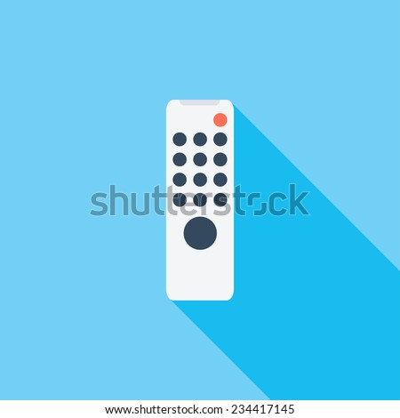 Remote control flat icon. Modern flat icons with long shadow effect in stylish colors. Icons for Web and Mobile Application. EPS 10. - stock vector