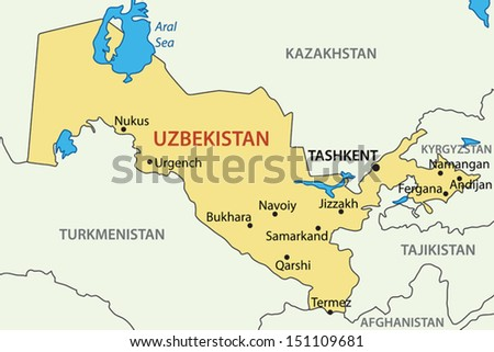 Republic of Uzbekistan - vector map - stock vector