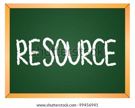 """resource"" word written on chalkboard - stock vector"