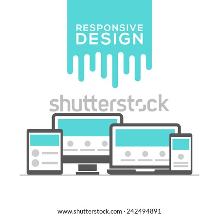 Responsive web design in electronic devices vector - stock vector