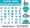 36 restaurant, bar, food signs. vector. blue series. - stock vector
