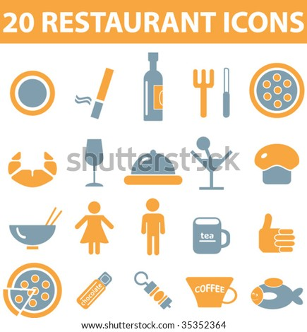 20 restaurant icons. vector