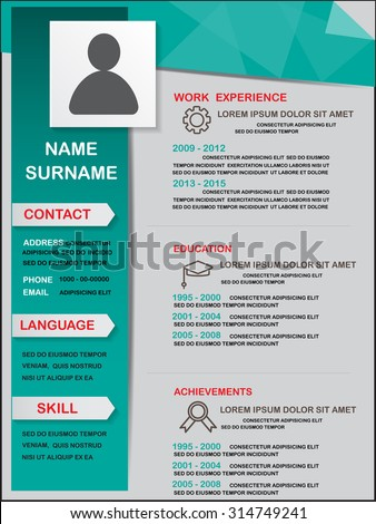 Resume (cv) Template Infographics Background And Element, Can Be Used For  Personal Statistic  Resume Background Image