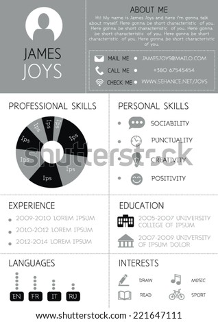 Resume Template Infographics Icons Cv Vector Stock Vector