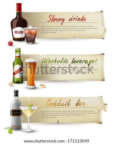 3 retro banners with alcoholic drinks - stock vector