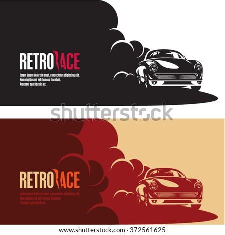 retro car race banner, retro style sports car vector silhouette, car racing in a puff of smoke - stock vector