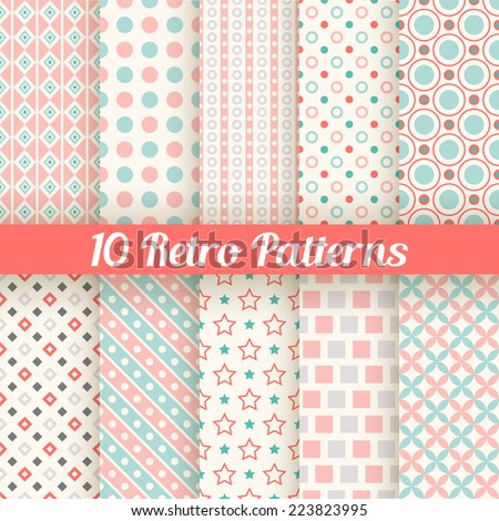 10 Retro different seamless patterns. Vector illustration for beauty design. Pink, white and blue colors. Endless texture can be used for sweet romantic wallpaper, pattern fill, web page background. - stock vector