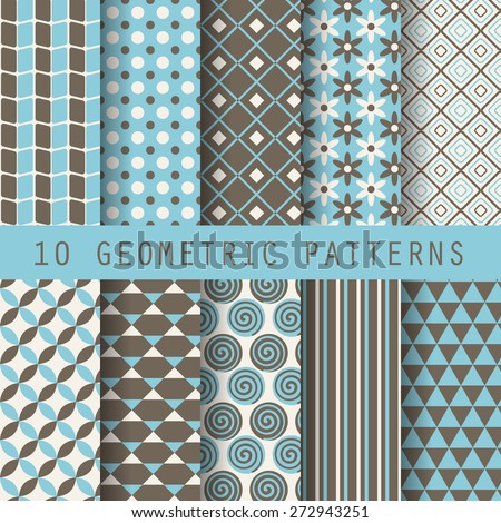 10 retro different vector seamless patterns. Endless texture for wallpaper, fill, web page background, surface texture. Set of monochrome geometric ornament. Blue and white shabby pastel  - stock vector
