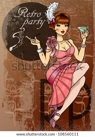 Retro party invitation card, pretty woman with cigarette and glass of alcohol,  20s, 30s - stock vector