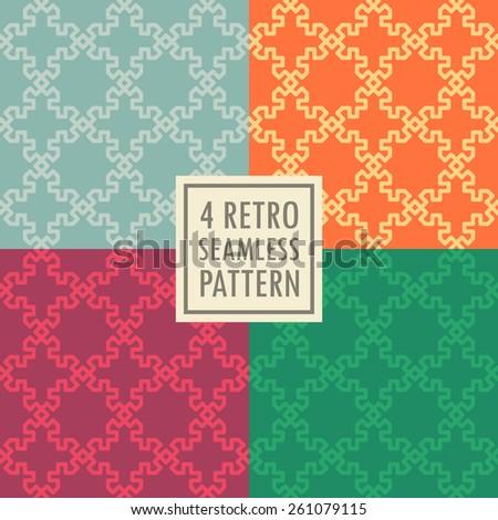 4 retro seamless pattern set - stock vector