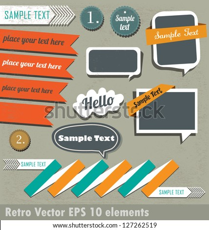 Retro Speech Bubbles And Signs Collection - stock vector