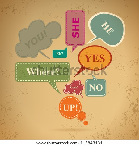 retro style speech bubbles - stock vector