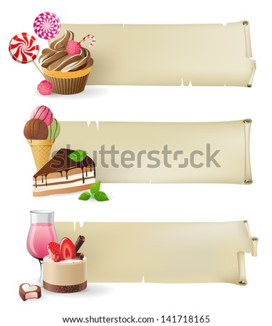 3 retro-styled banners with sweets and candies - stock vector