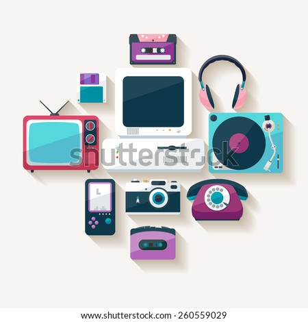Retro technology.Flat design. - stock vector