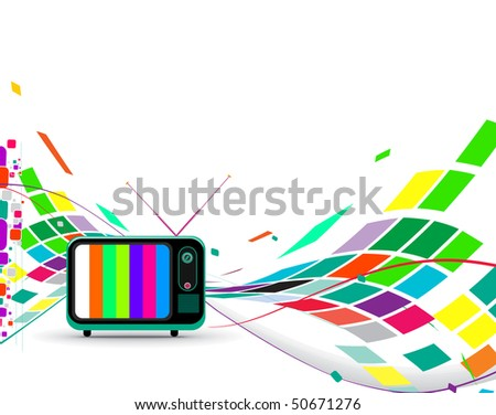 Retro television with wave mosaic wave background, vector illustration - stock vector