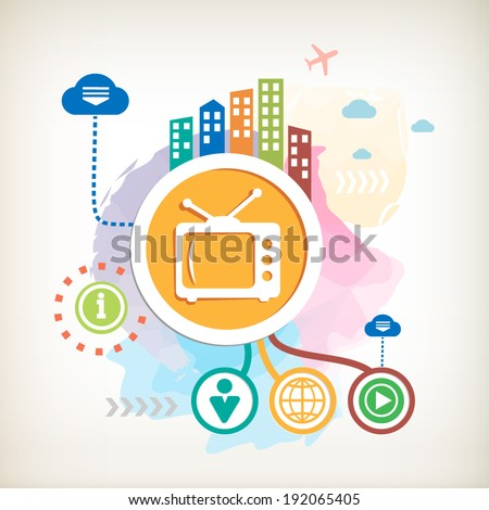 Retro tv and city on abstract colorful watercolor background with different icon and elements. Design for the print, advertising. - stock vector