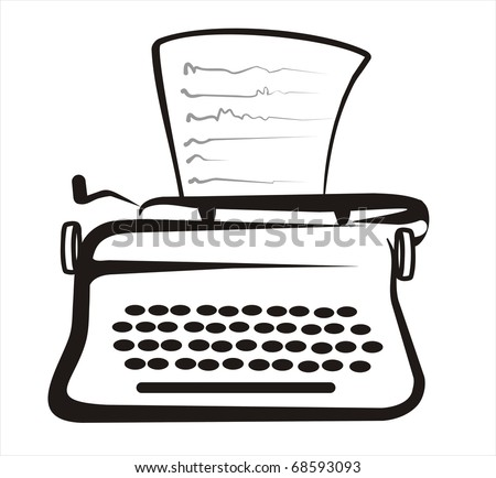 retro typewriter isolated sketch in black lines - stock vector