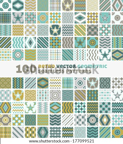 100 Retro Vector Geometric Seamless Patterns  - stock vector