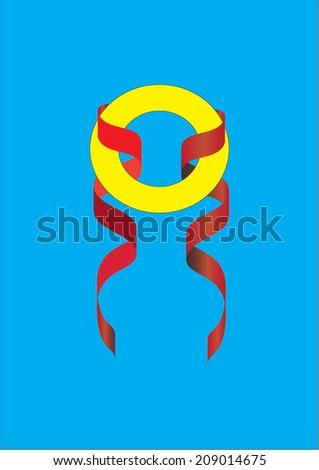 ribbon and medal  - stock vector