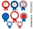 8 Ribbon Rosette Badge, Isolated On White Background, Vector Illustration - stock vector