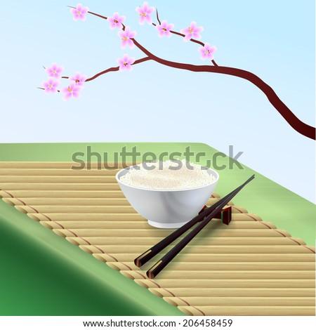 Rice Bowl and chopsticks. Vector illustration. - stock vector