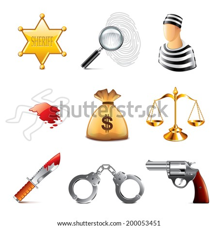 ?rime and law icons photo-realistic vector set - stock vector