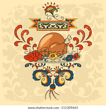 roast turkey - stock vector