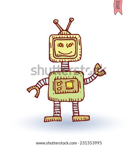 Robot cartoon, vector illustration.