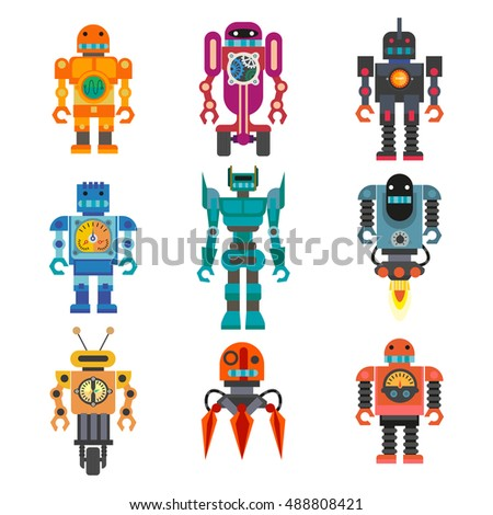 robot Set of cartoon robots. Machine robot technology, intelligence artificial cyborg, science robotic characters. Vector  robot toys illustration isolated on white background.