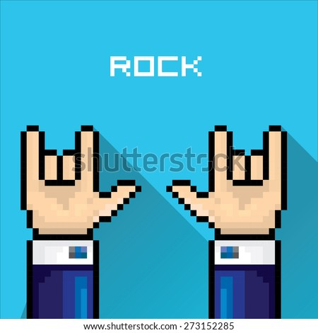 . rock n roll icon . vector flat pixel art hand sign rock n roll music . - stock vector