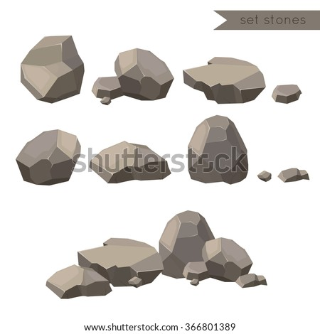 Rocks and stones single or piled for damage and rubble for game art architecture design - stock vector