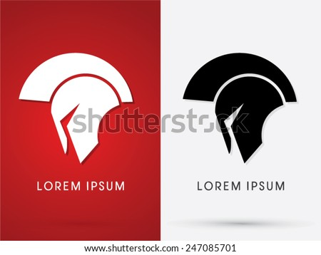 Roman or Greek  Helmet , Spartan Helmet, Head protection, warrior, soldier, logo, symbol, icon, graphic, vector. - stock vector