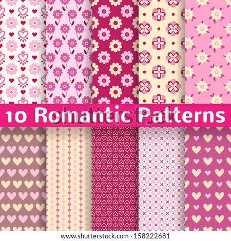 10 Romantic different vector seamless patterns (tiling). Sweet pink, brown and lemon cream colors. Endless texture can be used for printing onto fabric and paper. Heart, flower and dot shape. - stock vector