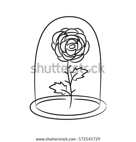 Rose In A Flask Of Glass On The White Background For Your Design Vector