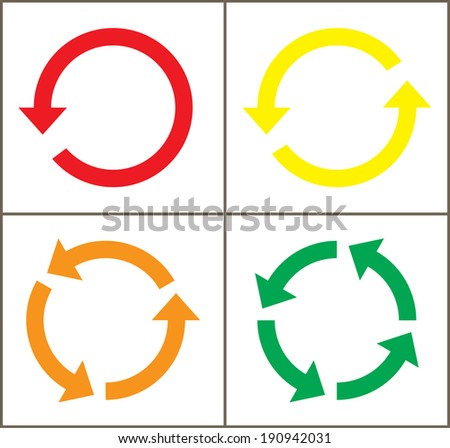 4 rotate color arrow icon sign. vector / illustration - stock vector