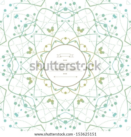 Round pattern with vegetative elements - stock vector