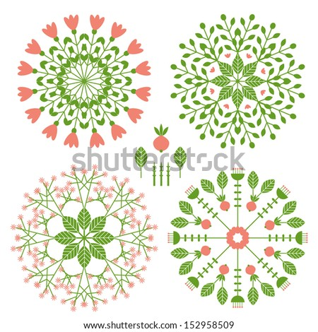 Round patterns with vegetative elements - stock vector