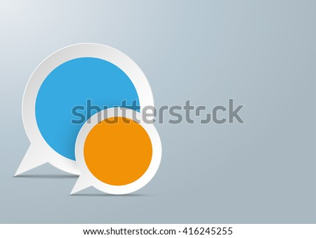 2 round speech bubbles with colored centre on the gray background. Eps 10 vector file. - stock vector