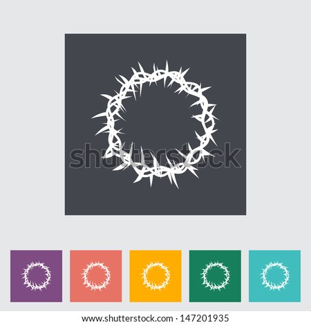 ?rown of thorns single flat icon. Vector illustration. - stock vector