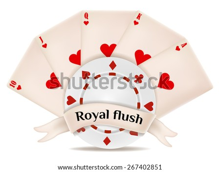 royal flush. playing cards and chips - stock vector