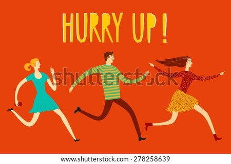 Running hurry young people cartoon illustration. Poster about sale. Perfect to place your text