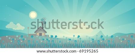 rural landscape scene after sunset, vector illustration - stock vector