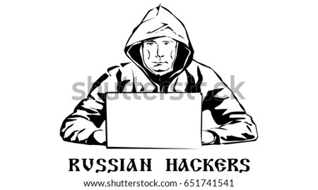 Russian hackers. Black and white drawing. Vector