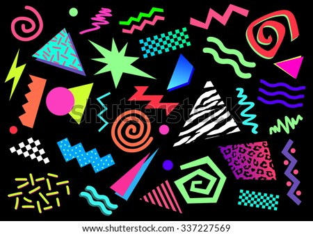 80s Abstract Shapes - stock vector