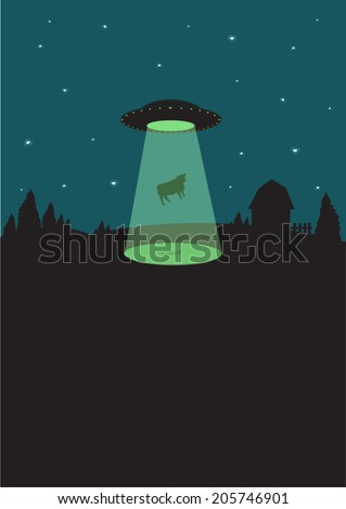1950s Alien Flying Saucer beams up a cow. Flat illustration - stock vector