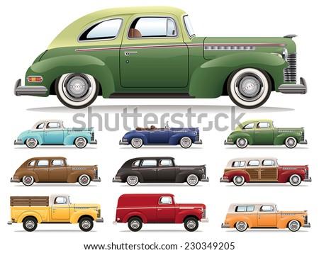 1940s Car Lineup - stock vector