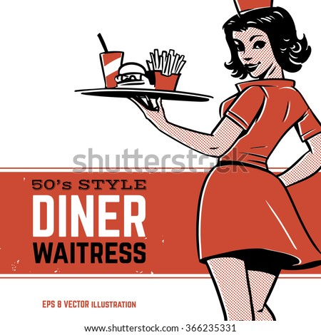 50's diner waitress. drive-in waitress. fast food concept - stock vector