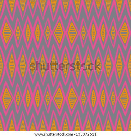 1930s geometric art deco pattern in bright pink and orange colors, seamless vector background. Texture for print, textile, wallpaper, vintage decor, website background. Concept of history, heritage. - stock vector