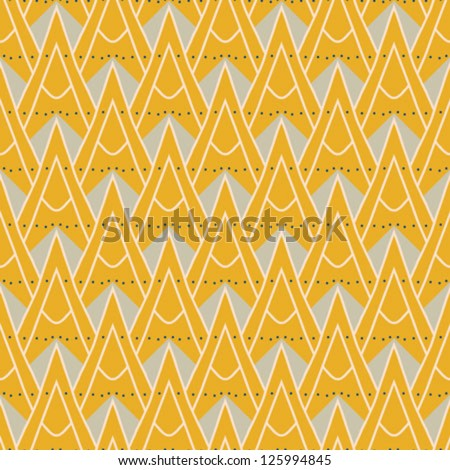 1930s geometric art deco pattern in mustard yellow colors, seamless vector background. Texture for print, textile, wallpaper, vintage decor, website background. Concept of history, heritage. - stock vector