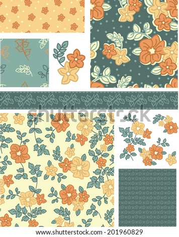 1940s Inspired Vector Seamless Rose Patterns and Icons. Use as fills, digital paper, or print off onto fabric to create unique items. - stock vector